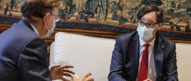 Ximo Puig, presidente de la Generalitat Valenciana, recibe a Salvador Illa, secretario de organización del PSC (Foto: Rober Solsona / EP)