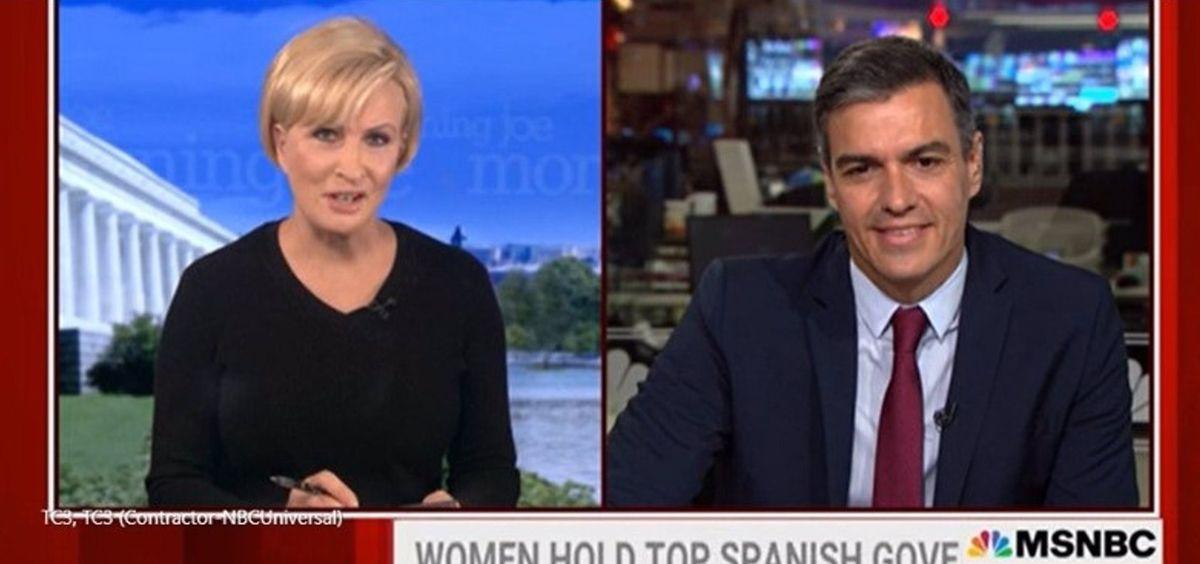 El presidente del Gobierno, Pedro Sánchez, en una entrevista en la cadena estadounidense MSNBC (MSNBC)