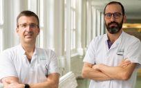 Investigadores del Hospital Clínic -IDIBAPS y CIBEREHD, Xavier Forns (izq) y Sergio Rodríguez-Tajes (Foto: CIBEREHD)
