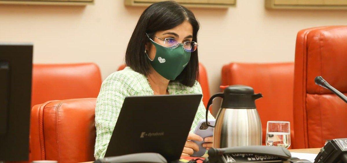 Carolina Darias, ministra de Sanidad, interviene en la Comisión de Sanidad del Congreso de los Diputados (Foto: Congreso)