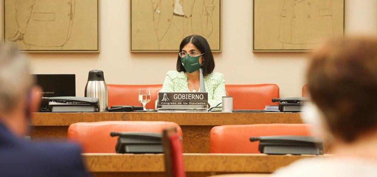 La ministra de Sanidad, Carolina Darias, interviniendo en la Comisión de Sanidad del Congreso de los Diputados (Foto: Congreso)