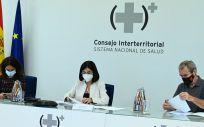 La ministra de Sanidad, Carolina Darias (en el centro), durante el Consejo Interterritorial del SNS (Foto. Pool Moncloa Borja Puig de la Bellacasa)