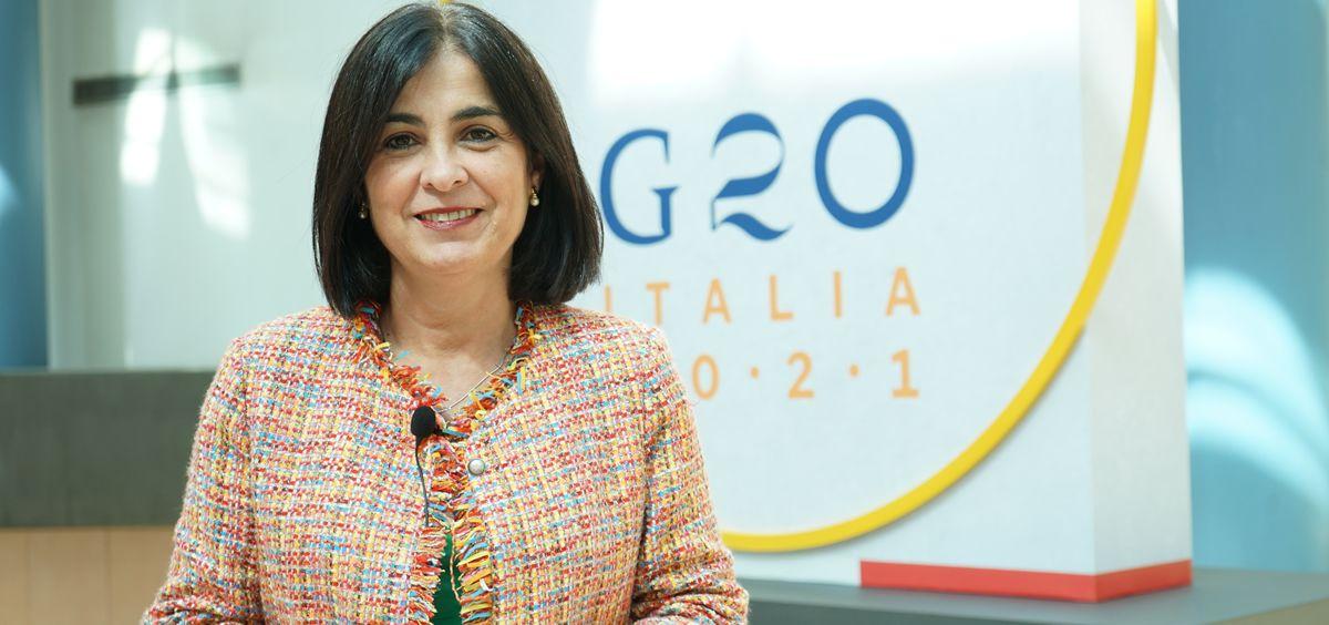 Carolina Darias, ministra de Sanidad, durante su participación en el G-20 (Foto: M. Sanidad)
