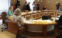 Reunión de la junta de portavoces de la Cámara gallega para marcar el orden del día del próximo pleno, que tendrá lugar los días 14 y 15 de septiembre (Foto: Parlamento de Galicia)