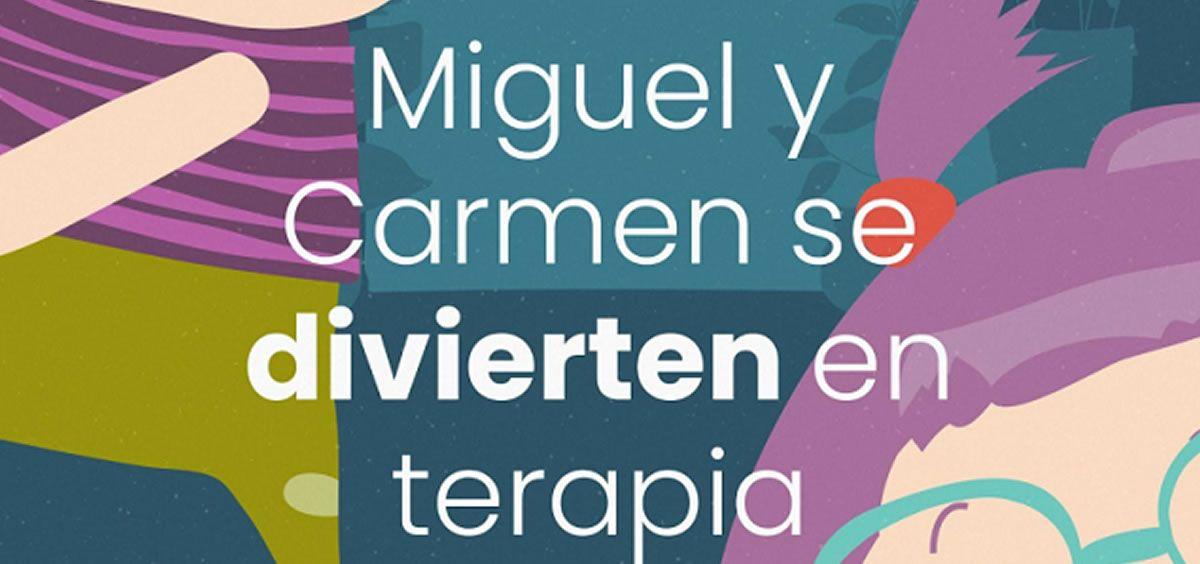 Portada del cuento 'Miguel y Carmen se divierten en terapia' para que las personas con discapacidad pierdan su miedo a la Covid-19 (Foto. Asociación Convives con Espasticidad)
