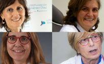 De izq. a dcha. y de arriba a abajo las doctoras Pilar Llamas, Carmen Martínez, Susana Rives y Dolores Caballero