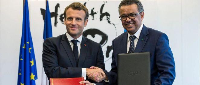 El presidente de la República Francesa, Emmanuel Macron, y el director general de la Organización Mundial de la Salud (Foto. OMS)