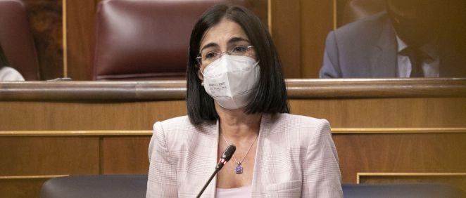 Carolina Darias, ministra de Sanidad, interviniendo en el Congreso (Foto: PSOE)