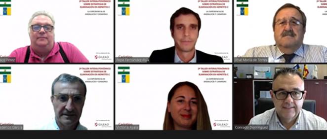Dr. Francisco Pérez, Pepe Fernández Rúa, José María de Torres, Dr. Federico García, Víctor Ayala, y Conrado Domínguez en la reunión (Foto. Gilead