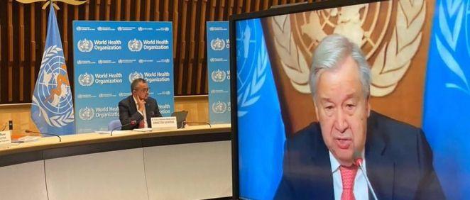 El director general de la Organización Mundial de la Salud (OMS), Tedros Adhanom Ghebreyesus, y el secretario general de Naciones Unidas (ONU), António Guterres. (Foto. OMS EP)