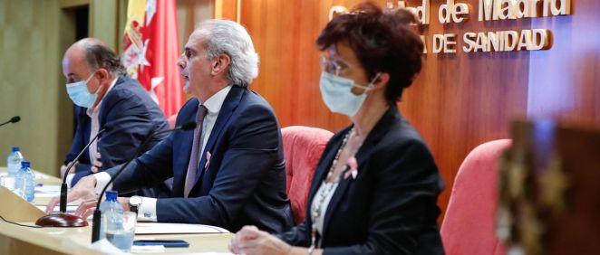 El consejero de Sanidad de la Comunidad de Madrid, Enrique Ruiz Escudero, en la comparecencia que ha tenido lugar en la sede de la Consejería (Foto: Comunidad de Madrid)