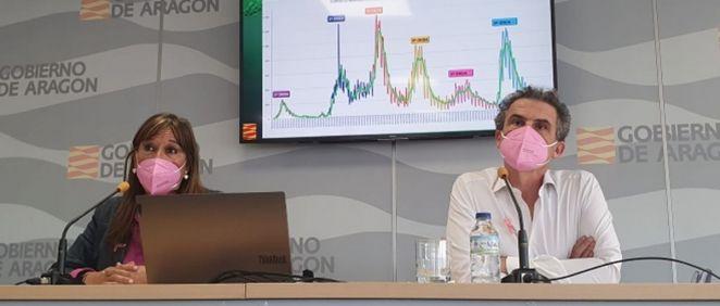 La consejera de Sanidad de Aragón, Sira Repollés, junto al director general de Salud Pública, Francisco Javier Falo, durante la rueda de prensa (Foto: Gobierno de Aragón)