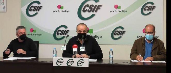 El presidente del sector de Sanidad de CSIF, Fernando Hontangas, durante su intervención