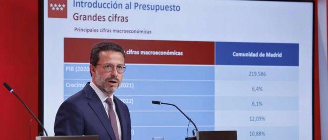 El consejero de Economía, Empleo y Hacienda, Javier Fernández-Lasquetty presenta el Proyecto de Presupuestos para 2022 (Foto: Comunidad de Madrid)