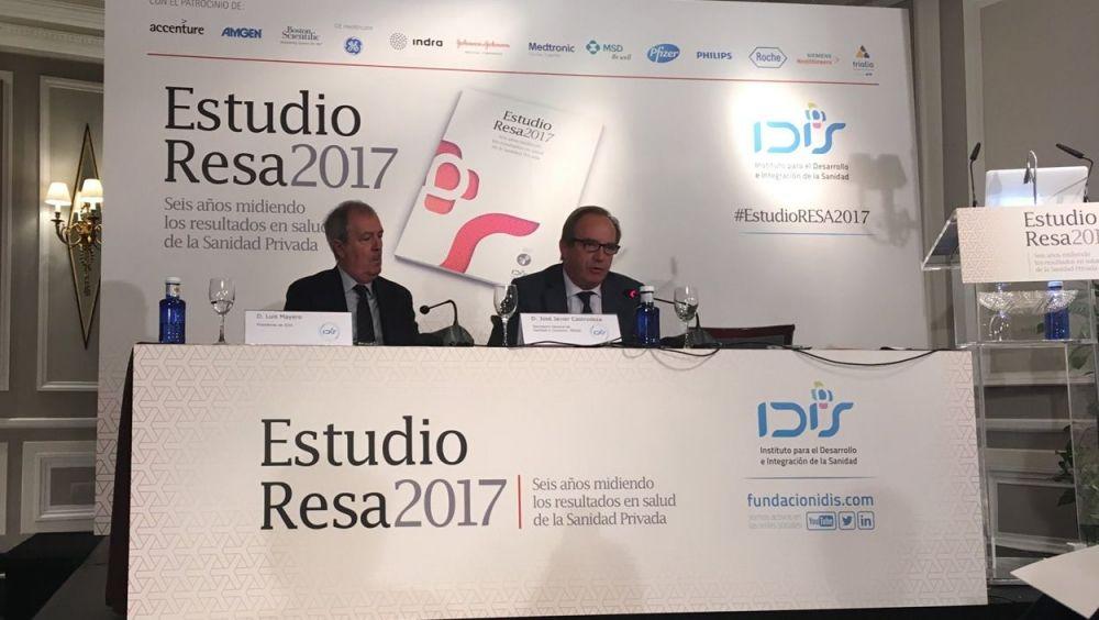 El presidente del IDIS, Luis Mayero; y el secretario general de Sanidad, José Javier Castrodeza.