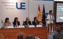Dolors Montserrat defendiendo la candidatura de Barcelona