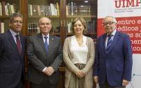 De izq. a dcha.: Antonio Bernal,  César Nombela, Cristina Avendaño y Julio Sánchez Fierro.