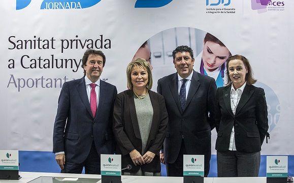 De izquierda a derecha:  Lluís Monset, director general de ACES; Cristina Contel presidenta de ACES;  Manuel Vilches, director general de IDIS y Lourdes Mas, vicepresidenta primera de ACES.