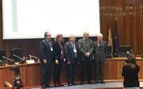 Los portavoces de los diferentes partidos políticos nacionales que han participado en el encuentro.