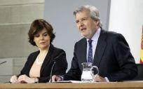 El portavoz del Gobierno de España, Iñigo Méndez de Vigo, durante la rueda de prensa posterior al Consejo de Ministros de este jueves