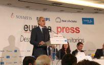 El consejero de Sanidad de la Comunidad de Madrid, Enrique Ruiz Escudero, durante su intervención este miércoles