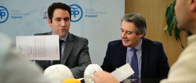 Los portavoces adjuntos del PP, Teodoro García y Rubén Moreno, presentando la iniciativa.