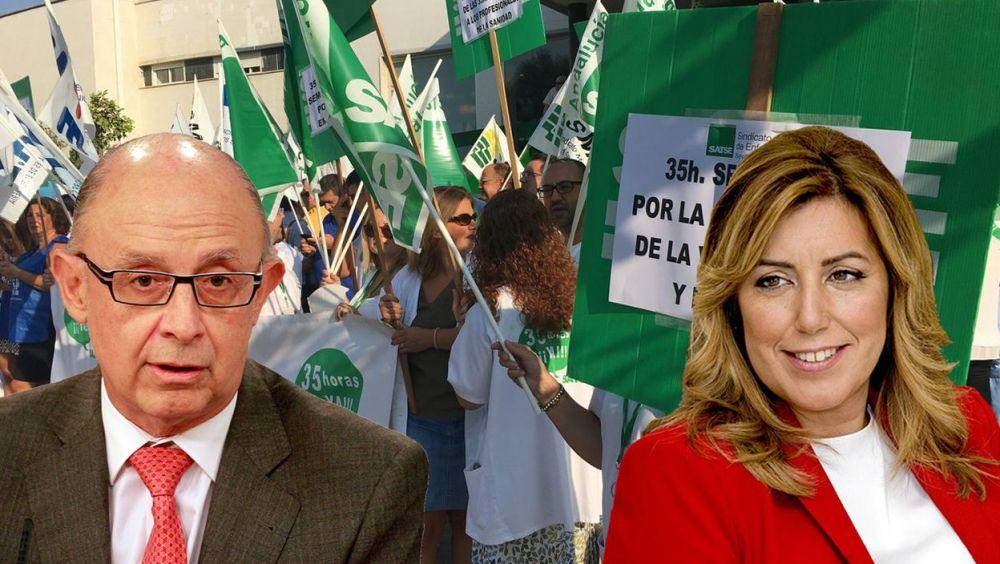 Cristóbal Montoro, ministro de Hacienda, y Susana Díaz, presidenta de la Junta de Andalucía.