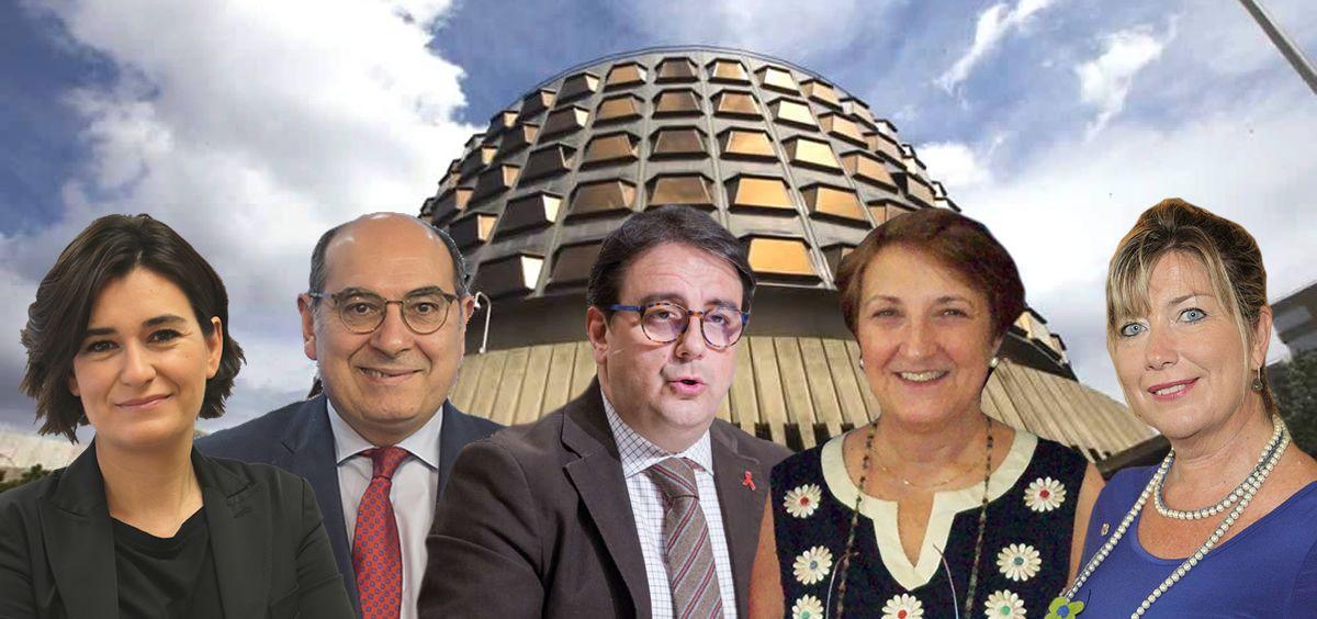 Los consejeros sanitarios Carmen Montón (C. Valenciana), Jon Darpón (País Vasco), José María Vergeles (Extremadura), Luisa del Real (Cantabria) y Patricia Gómez (Baleares).