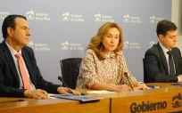 María Martín, junto a Javier Aparicio y Juan Carlos Oliva, durante la presentación del Plan.