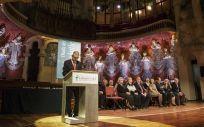 Jordi de Dalmases, presidente del Colegio de Farmacéuticos de Barcelona, durante su discurso en la Diada del Farmacéutico
