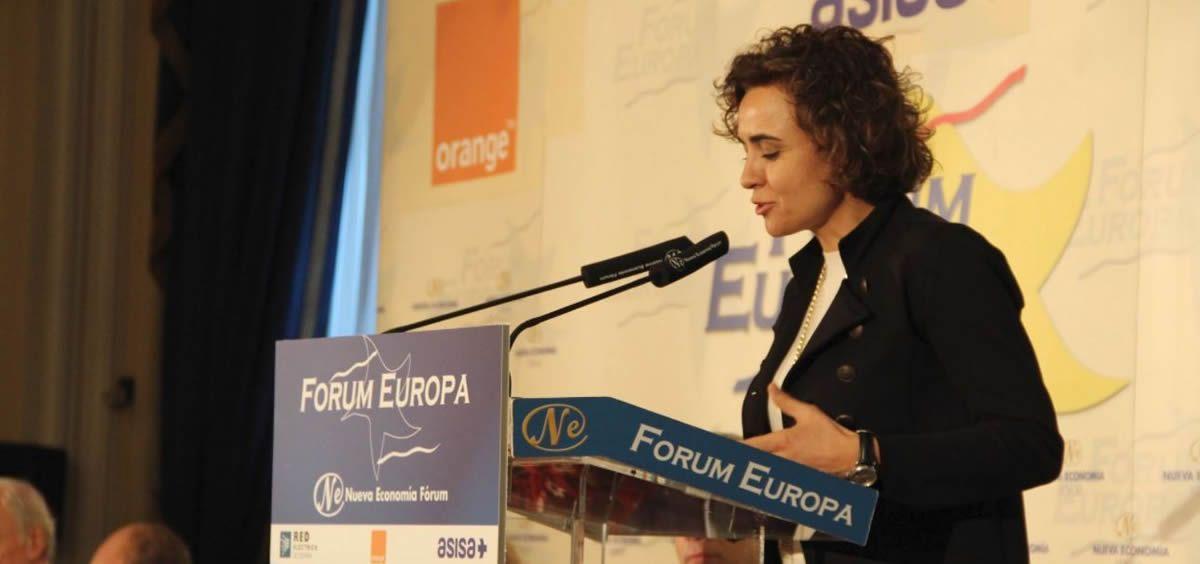 Dolors Montserrat, durante su participación en el Forum Europa