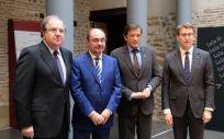 Los presidentes Juan Vicente Herrera (Castilla y León), Javier Lambán (Aragón), Javier Fernández (Asturias) y Alberto Núñez Feijóo (Galicia).