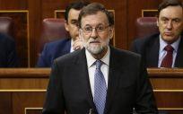 El presidente del Gobierno, Mariano Rajoy, en el Congreso de los Diputados durante su intervención en la sesión de control.