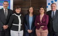 De izqd. a drcha.: Lucienne Costa.Frossard, Celia Oreja Guevara y Pilar Lafuente.