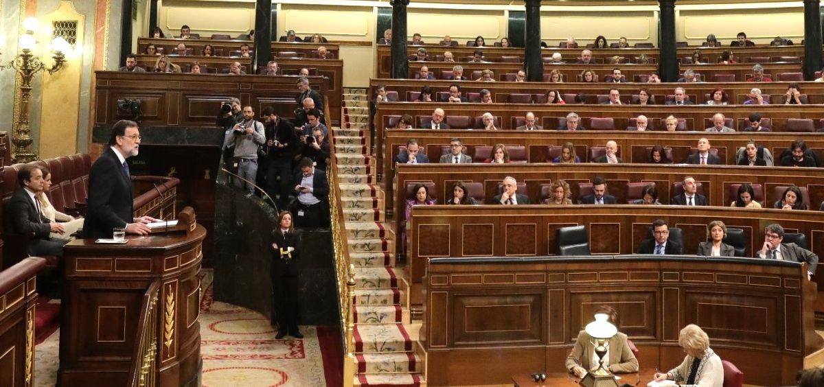 El presidente del Gobierno, Mariano Rajoy, durante su intervención este miércoles en el Congreso.
