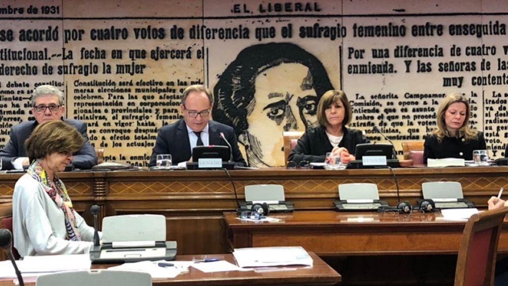 Instante de la comparecencia de José Javier Castrodeza, secretario general de Sanidad, en la Comisión del Senado.
