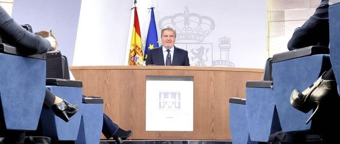 Íñigo Méndez de Vigo, portavoz del Gobierno, durante la rueda de prensa tras el último Consejo de Ministros.