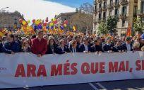 Dolors Montserrat, durante la manifestación de Societat Civil Catalana, convocada este domingo.