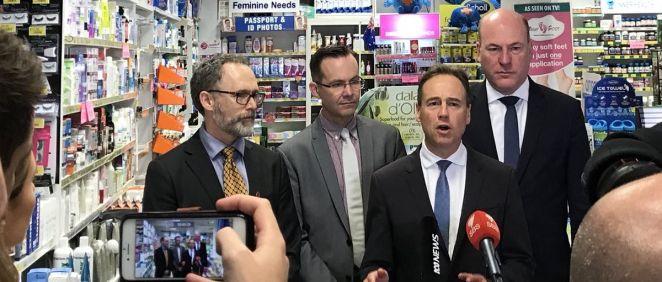 El ministro de Sanidad de Australia, Greg Hunt, durante el anuncio de la implantación de la PrEP en el país