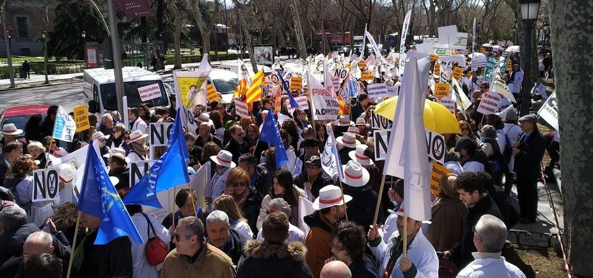 Momentos previos a la manifestación médica celebrada en Madrid el pasado 21 de marzo y que fue convocada por la Confederación Estatal de Sindicatos Médicos