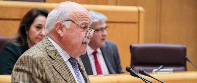 El consejero de Salud de Andalucía, Jesús Ramón Aguirre, durante una intervención en el pleno del Senado como senador del PP.