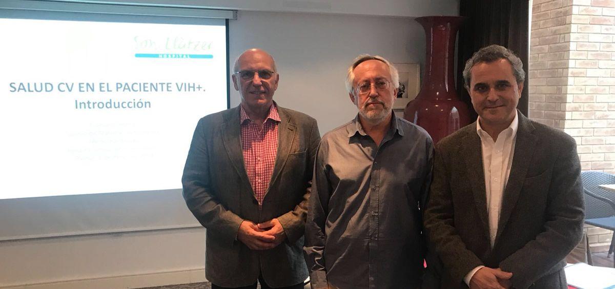 Los doctores Jaume Marrugat, Francesc Homar y Vicente Estrada, ponentes de la jornada sobre VIH celebrada en Palma