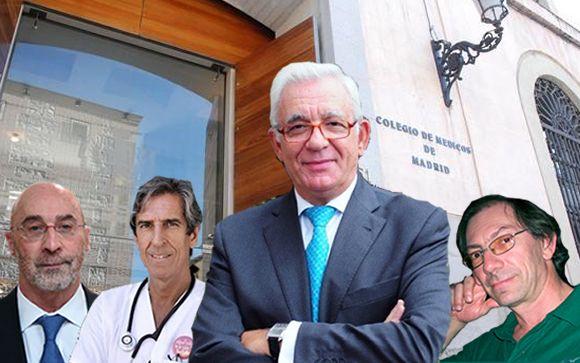 De izquierda a derecha: Julián Ezquerra, secretario general de Amyts, Miguel Ángel Sánchez Chillón, presidente del ICOMEM; Jesús Sánchez Martos, consejero de Sanidad de Madrid, y Carlos Castaño, presidente de Afem.