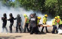La unidad Depas y la Unidad de Intervención Policial, en unas maniobras conjuntas de formación
