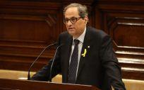 Quim Torra, candidato para presidir la Generalitat de Cataluña, durante su discurso en el Parlament.