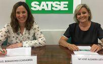 Raquel Bengochea y Mª José Algarra, representantes de Satse Navarra