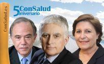Luis de Carlos Bertrán, presidente de la Fundación ProCnic; Paolo Vasile, CEO de Mediaset España; y Begoña Barragán, presidenta de Gepac