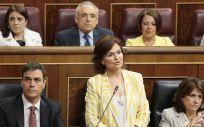 Carmen Calvo, durante la sesión de control del Gobierno