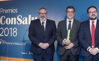 Juan Blanco, CEO del Grupo Mediforum; Patxi López, presidente de la Comisión de Sanidad del Congreso; y Sergio Blanco, Director General del Grupo Mediforum