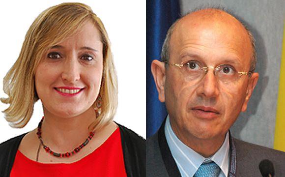 Alda Recas (izquierda), portavoz de la candidatura 'Por la Enfermería' y Máximo González Jurado (derecha), presidente del Consejo General de Enfermería.